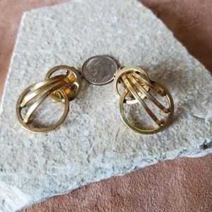Vintage brassy gold clip on earrings